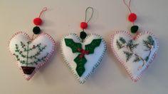 Felt Christmas hearts