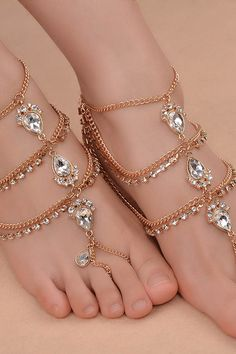 a4abbe580dd Women Layered Rhinestone Encrusted Pendant Retro Ring Anklet Chain - Gold