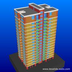 Rectangle Tower apartment block 3D model in AutoCAD Tower Apartment, Apartment Plans, Corner Unit, Cool Apartments, Plan Design, Prefab, Service Design, Architecture Design, House Plans