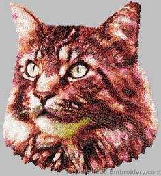 Embroidery designs, embroidery digitizing and FREE designs every week. New ideas, unique embroidery techniques and creative embroidery designs American Shorthair Cat, Cat Machines, Embroidery Motifs, Embroidery Ideas, Photo Stitch, Machine Embroidery Projects, Creative Embroidery, Maine Coon Cats, Cat Pattern