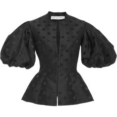 Emilio de la Morena     Eshe Puff Sleeve Dot Jacket ($1,465) ❤ liked on Polyvore featuring outerwear, jackets, black, peplum jackets, short-sleeve jackets, puff shoulder jacket, puff sleeve jacket and polka dot jacket