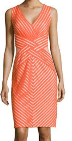 Orange printed evening dress