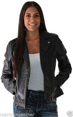 Women'S Genuine Lambskin Leather Jacket Black Slim Fit Motorcycle Jacket - Wj226