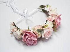Romantic pink flower crown