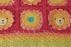 Crochet granny square infantil manta