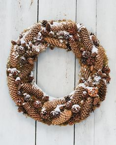 This substantial wreath, made with long Norway spruce pinecones attached to a bed of moss, can last for years if stored properly: