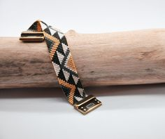 Bracelet tissé Miyuki aztèque fermoir magnétique : Bracelet par charlotte-aux-perles