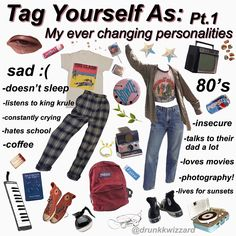 Tag Yourself as my different moodsI was super bored so I made this. Comment which one you are. Please give credit if you repost Tags- boards outfits Retro Outfits, Grunge Outfits, Vintage Outfits, Cute Outfits, Aesthetic Vintage, Aesthetic Fashion, Aesthetic Clothes, Aesthetic Outfit, 80s Fashion