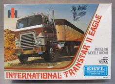 over 250 pieces. realistic operating cab - lift cylinder and piston like the real one; parts are mint and factory sealed. box is excellent. Model Truck Kits, Model Kits, Car Kits, Kit Cars, Navistar International, Detroit Diesel, Cab Over, Truck Art, Toy Trucks