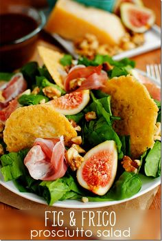 Fig & Frico Prosciutto Salad with Fig Balsamic Vinaigrette is elegant but so easy! #dinner