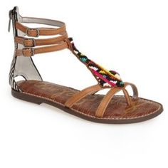 'Sam Edelman Giselle' Beaded Gladiator Sandal Colorful beading and mixed-media construction freshen up an essential flat gladiator sandal styled with a trio of slender ankle straps. Back-zip closure; adjustable ankle straps with buckle closures. Leather and genuine calf hair (upper/synthetic lining and sole. By Sam Edelman; imported. Sam Edelman Shoes Sandals