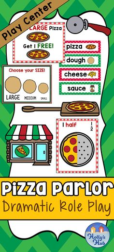 Pizza Pizza! Looking for a fun, interactive and engaging learning space for your classroom? Then this is the perfect dramatic role play center for all of your kiddies needs! The pack includes a variety of posters, signs, labels and more to create a bright and colorful space. #roleplay #pizzapretendplay #dramaticplay #petendplay #pizzaislife #hollyshub #teacherspayteachers #centerideas