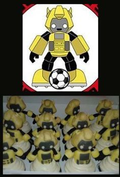 Idea to make a cake of a robot playing soccer