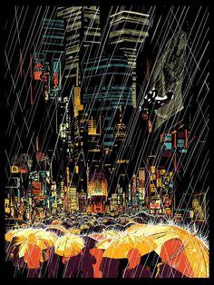"the Blade Runner inspired music & art show, ""Moments Lost"" Illustrations by Dan McPharlin, HR-FM and Kilian Eng Blade Runner Art, Denis Villeneuve, Ligne Claire, Bd Comics, Illustration, Cyberpunk Art, Night Life, Cool Art, Concept Art"