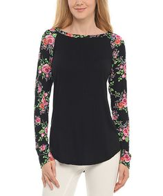 Another great find on #zulily! Black Floral Raglan Tee by Cool Melon made by Goo Yoo #zulilyfinds