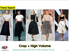 Crop + High Volume: Crop Top +High-waist Volume A-line Midi Skirt Trend at NYFW SS 2015.Delpozo, Marc by Marc Jacobs, Michael Kors, Oscar de la Renta, andDonna Karan Spring Summer 2015 New York Fashion Week. #SS15 #NYFW #SS2015