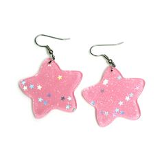 Pixie Amor — Glitter Star Earrings ❤ liked on Polyvore featuring earrings, jewelry, accessories and pink