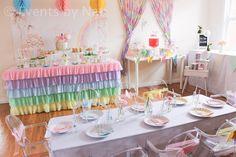 Pastel Fairy Rainbow Party dessert table for Girls: the dessert