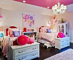 cute girls room for twin beds...love the dressers at end of beds