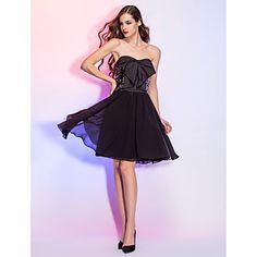 a-lijn strapless korte / mini georgette en satijn cocktail jurk (759812) –