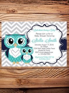 teal owls baby shower invitation teal and gray cute owls baby shower invite girl