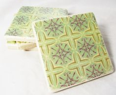 Green and Plum Coaster Set by nosweatcoasters on Etsy
