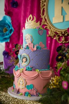 Birthday party cake from Princess Royal Ball Birthday Party at Kara's Party Ideas. See more at karaspartyideas.com!