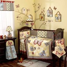 Baby Nursery Crib Bedding Sets with cute designs for both baby boys and baby girls. Baby Girl Nursery Bedding, Baby Bedroom, Baby Crib Bedding Sets, Girl Cribs, Girl Room, Teak, Butterfly Baby, Butterfly Flowers, Butterfly Nursery
