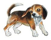 Cute Beagle Art, Dog Print, Pet Portrait, 8x10 Nursery Print, Animal Illustration, Brown and Black Puppy Artwork, Childrens Room Decor
