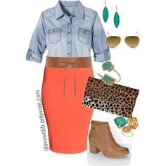 Plus Size - Coral Skirt by alexawebb on Polyvore featuring Pure Energy, H&M, Levi's, Clare V., Janna Conner Designs, Melanie Auld Designs, Allison Daniel, LYRALOVESTAR, Didi Jewellery and Ray-Ban