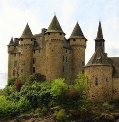 Château de Val les Fontilles,  15270 Lanobre, Cantal, France....     www.castlesandmanorhouses.com    ....    The Château is located on the shore of the Lake Bort-les-Orgues. It is classé as a Monument historique.