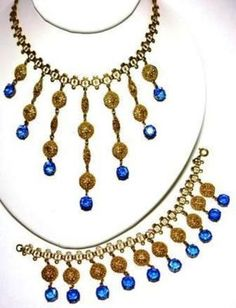 Anitque Filigree Blue Glass Fringe Choker Necklace Bracelet Set Book Piece | eBay