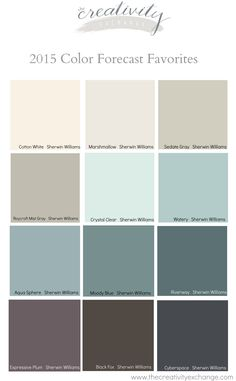 Favorites from the 2015 Paint Color Forecasts Favorite colors from the 2015 paint color forecasts. The creativity stock market Favorites from the 2015 Paint Color Forecasts Favorite colors from the 2015 paint color forecasts. Paint Schemes, Colour Schemes, Color Trends, Beach Color Schemes, Interior Paint Colors, Paint Colours, Interior Design, Paint Colors For Basement, Foyer Paint Colors