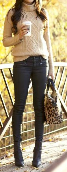 Cable Knit + Leopard