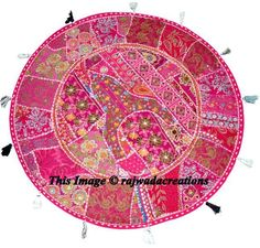 """22"""" Small Patchwork Floor Pillow Embroidered Round Cushion Cover Home Decor Art #Handmade #ArtsCrafts"""