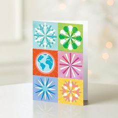 unicef holiday cards boxed set snow flakes and globe inside sentiment may - Unicef Holiday Cards
