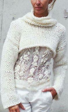white on white | crop sweater + lace top + pants