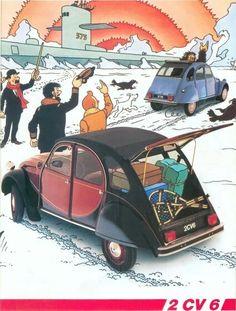 Manx, Tin Tin Cartoon, 2cv6, Citroen Car, Cartoon Wall, Tin Art, Fox Terrier, Illustrations And Posters, Pulp Fiction