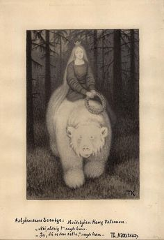 Shop Kittelsen King Valemon The white bear Postcard created by carulcards. Pattern Illustration, Berg, Textile Art, Les Oeuvres, Illustrators, Fairy Tales, Art Drawings, Street Art, Folk