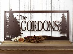 "Family Name Custom Metal Sign | Pine Trees | 20""W x 10""H 