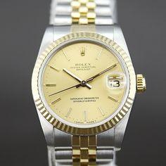 【中古】ROLEX(ロレックス) 68273 9番 デイトジャスト K18YG ベゼル オートマチック コンビ ゴールド文字盤時計/ブランドが味わえボーイズサイズですので男女問わずつけていただけるドレスウォッチです。/新品同様・極美品・美品の中古ブランド時計を格安で提供いたします。