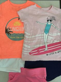 Carters Girls Size 6, Mixed Lot Of 5 Items, 3 Pull On Shorts & 2 Tops  | eBay