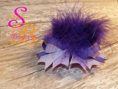 Purple Boutique Hair Bow with Feathers made by Shana's Boutique www.Facebook.com/shanaboutique