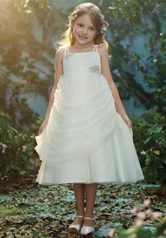 Tea length soft net flower girl gown with metallic details   712 from Disney Blossoms By Alfred Angelo