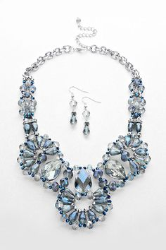 Crystal Valencia Necklace in Sapphire on Emma Stine Limited