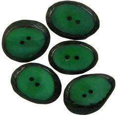 Set of 5 Small Forest Green Tagua Sliced Buttons from Ecuador Handmade Fair Trade