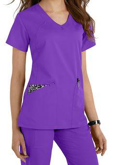 Greys Anatomy v-neck fashion pocket scrub top. Main Image