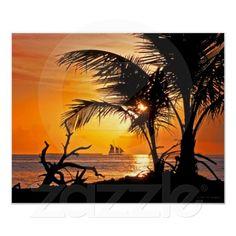 Key West Inspiration | Sunset| Serafini Amelia| Key West Palm Tree Sunset & Sailboat Poster