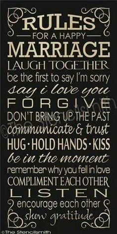 Rules for a Happy Marriage!  ♥