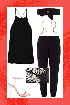 black high waist trouser  High-Waisted TrousersNow, Double Your Options By Wearing It: As the lower half to a DIY jumpsuit, with a tucked-in tank, a wide obi belt, and pastel sandals.